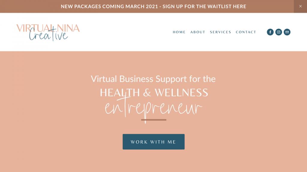 Homepage de Virtual Nina Creative, negocio online de asistencia virtual