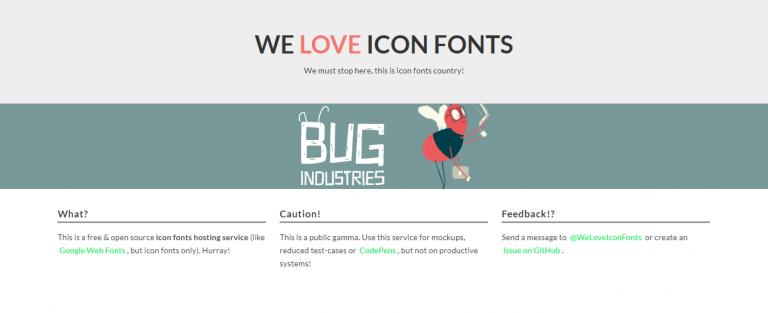 La página de inicio del sitio de la página de inicio de We Love Icon Fonts