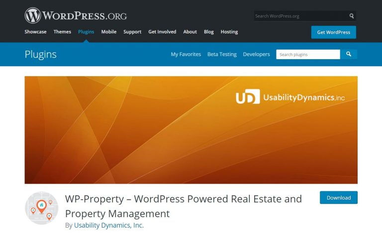 Página de WordPress del plugin wp-property