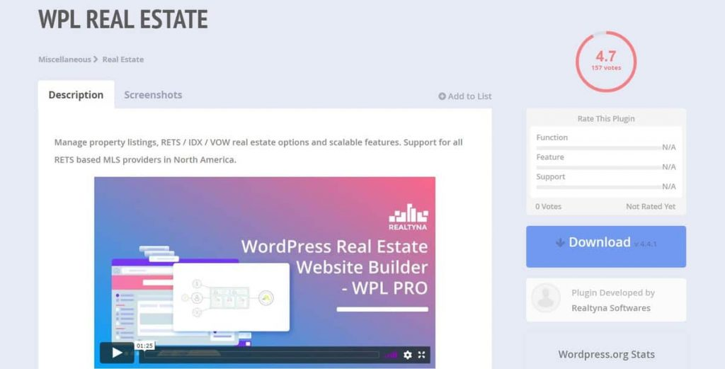Página de descarga del complemento WPL Real Estate WordPress