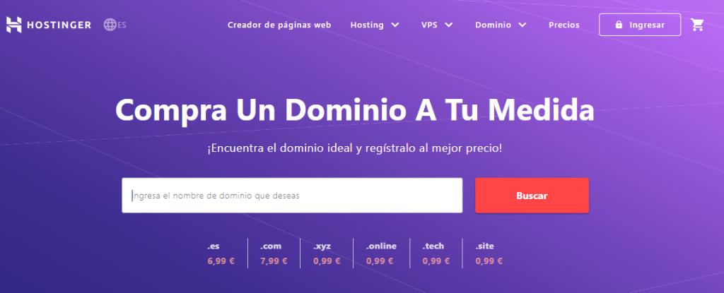 página de inicio del verificador de dominio hostinger