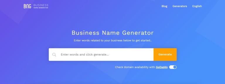 Página de inicio del generador de nombres comerciales BNG