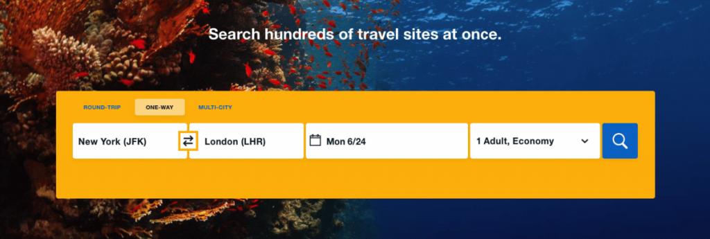 Reserve un vuelo como una ilustración de prueba de usabilidad del sitio web