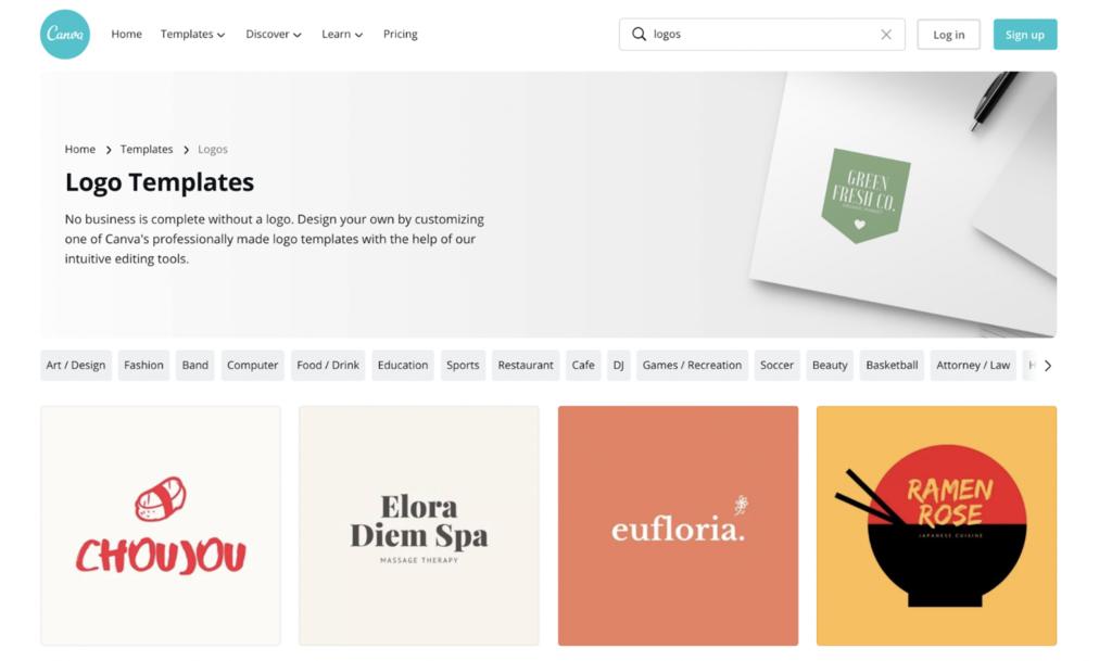 Página de plantillas de logotipos de Canva