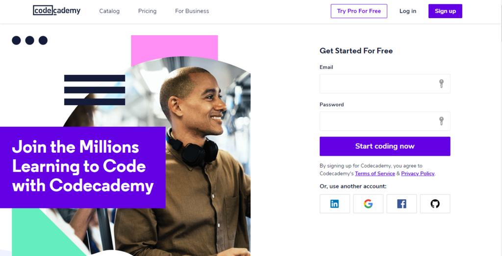 Página de inicio de Codecademy para trabajar desde casa