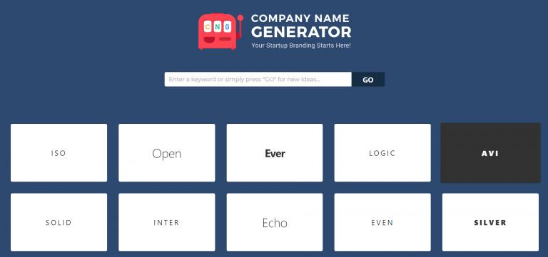 página de inicio del generador del nombre de la empresa