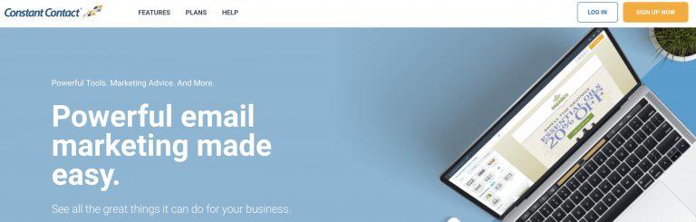 Página de inicio del servicio de marketing por correo electrónico Constant Contact