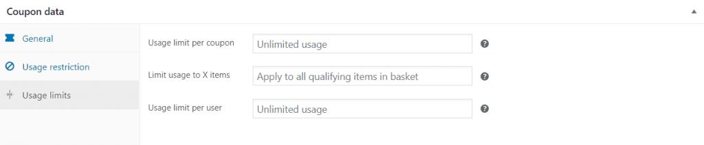 Cuadro de límites de uso de datos de cupones