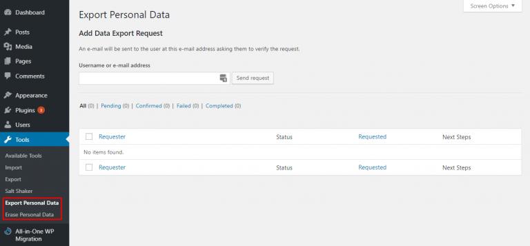 exportar y borrar datos del usuario en el área de administración de la herramienta WordPress