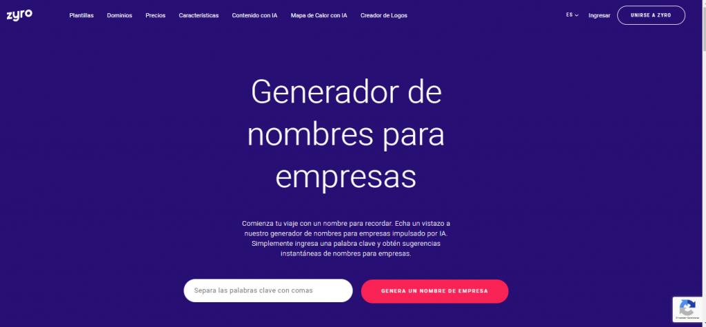 Generador de nombres comerciales de IA de Zyro
