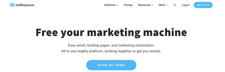 Página de inicio del servicio de marketing por correo electrónico GetResponse