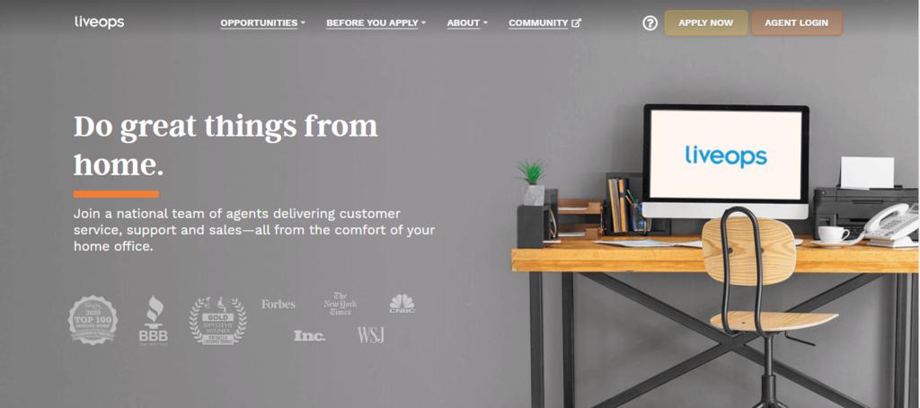 Página de inicio de Liveops para el mejor trabajo de trabajos en casa