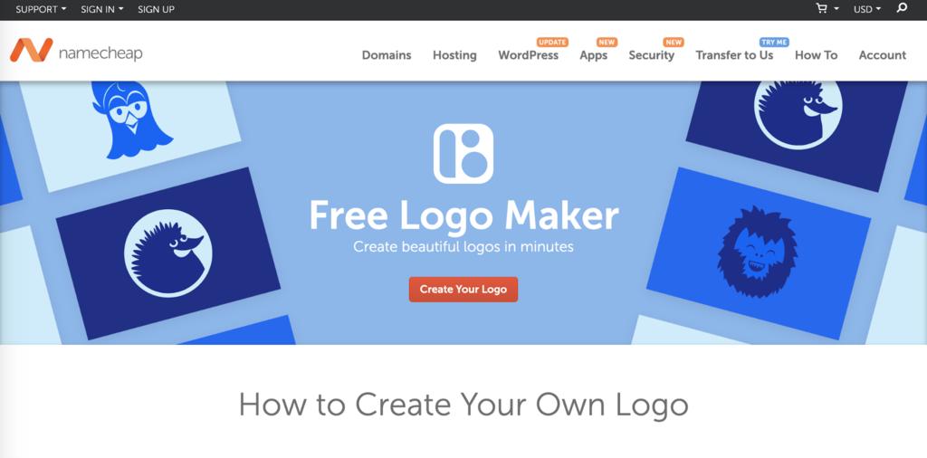Página de inicio de Namecheap's Free Logo Maker