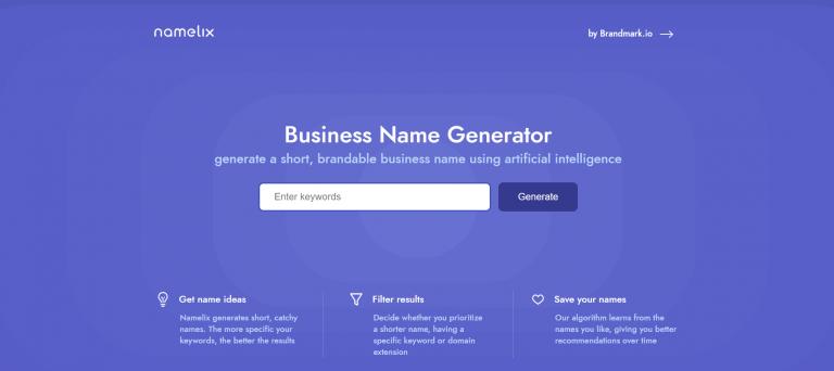 Generador de nombres comerciales Namelix