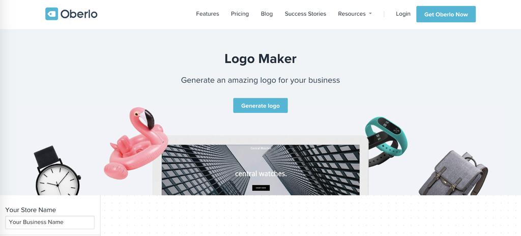 Página de inicio de Oberlo's Logo Maker