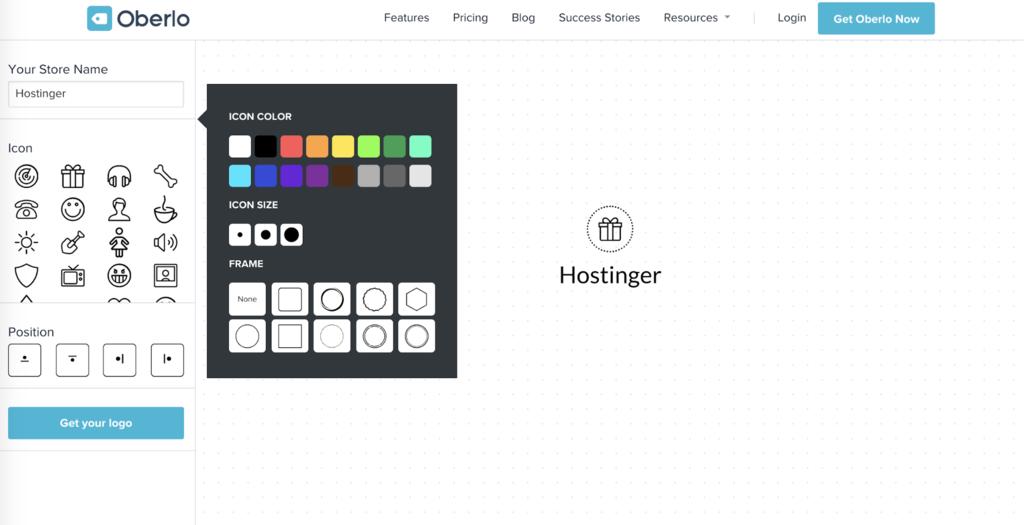 Crear un logotipo usando el Creador de logotipos de Oberlo