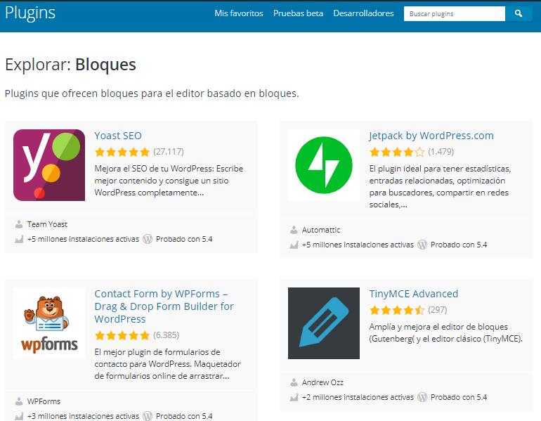 WordPress ofrece una gran biblioteca de plugins para todo tipo de tareas.