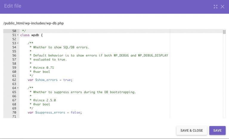 Cambiando la variable $show_errors a true