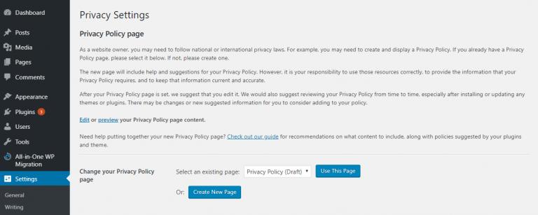 Configuración de la política de privacidad en el área de administración de WordPress