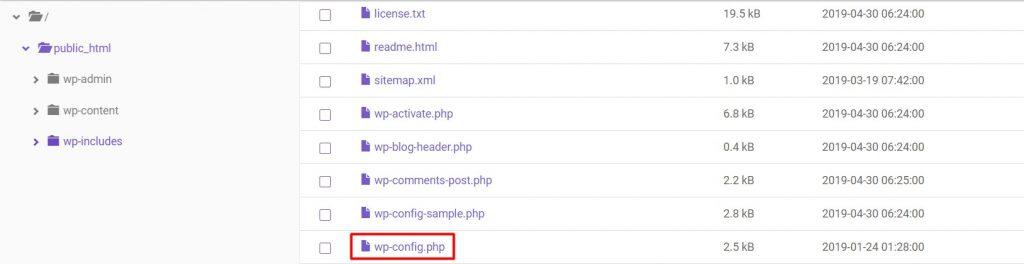 ubicación del archivo wp-config.php