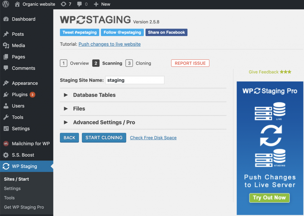 crear un sitio de ensayo usando WP Staging