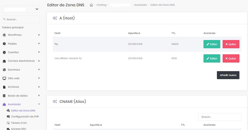 El editor de zona DNS en hpanel de hostinger