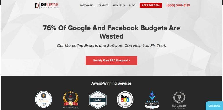 La página de inicio de Disruptive Social Media Marketing Company