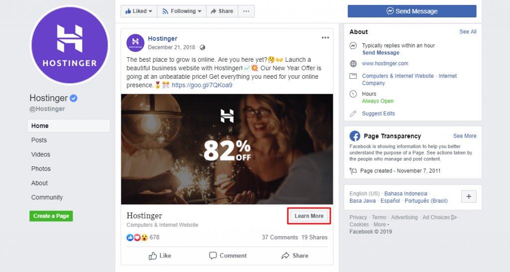 oferta especial de hostinger publicación de facebook