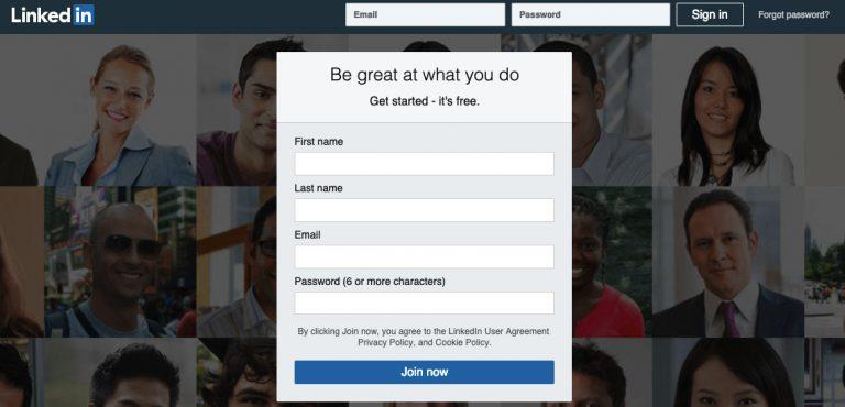 Página de inicio de Linkedin