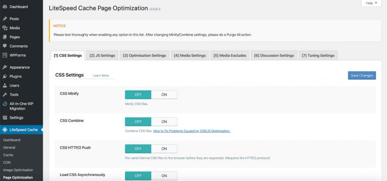 Configuración de optimización de página