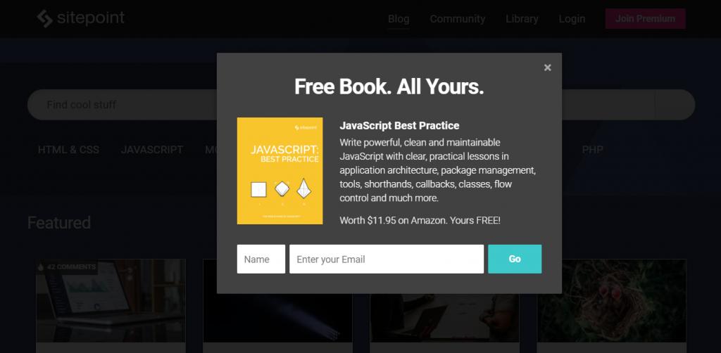 pop up sitepoint ebook