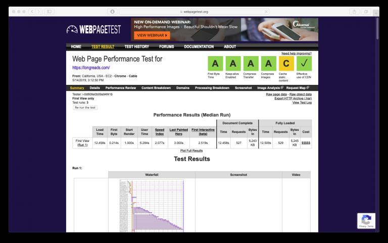Una prueba de página web fror longreads.com