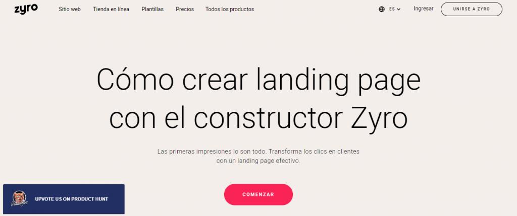 El banner del creador de la página de aterrizaje de Zyro