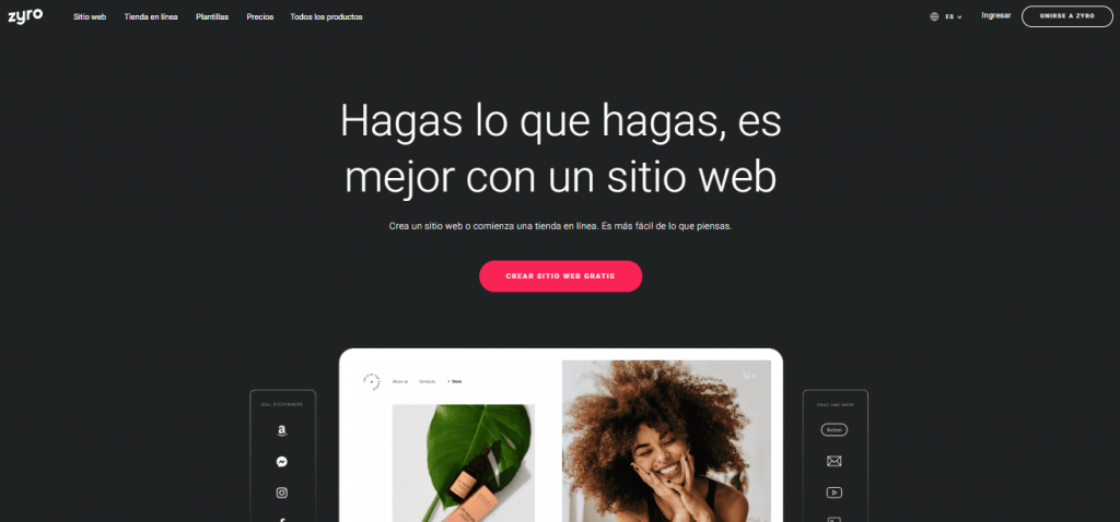 Creador de sitios web de Zyro