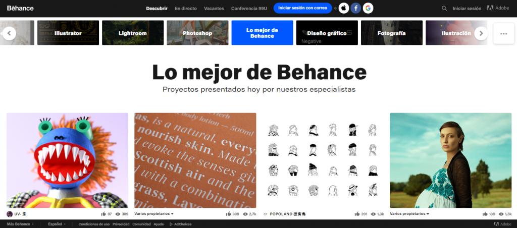 Behance, lugar para encontrar inspiración para el diseño de sitios web