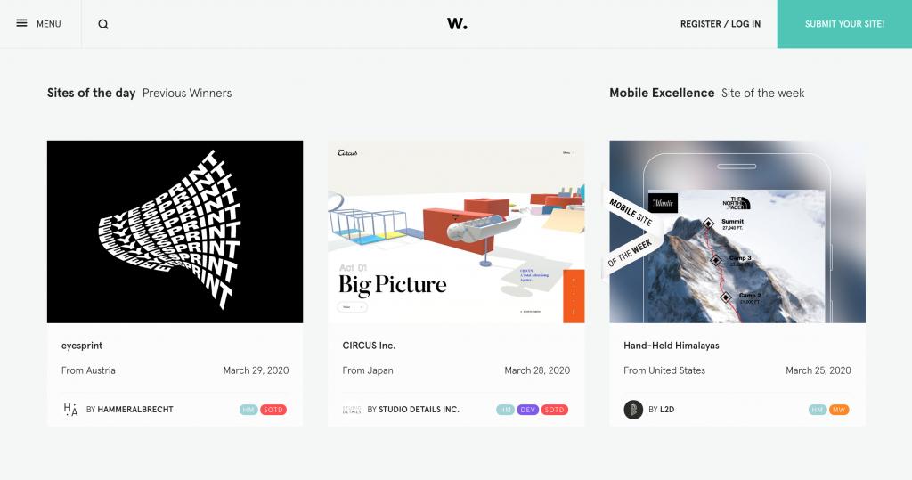 Awwwards, Galería de inspiración galardonada de diseño web