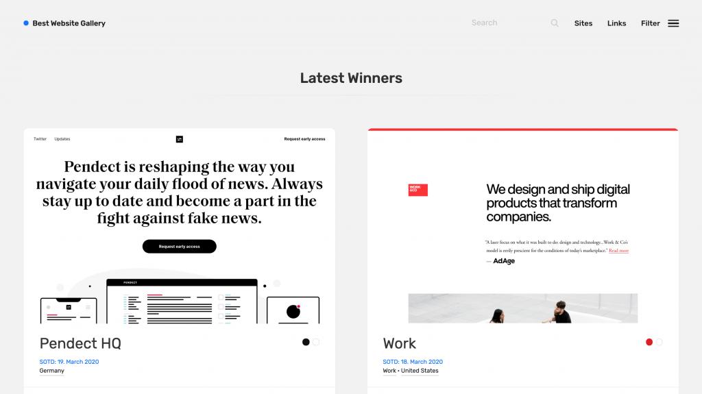 La mejor galería de sitios web para inspiración de diseño de sitios web