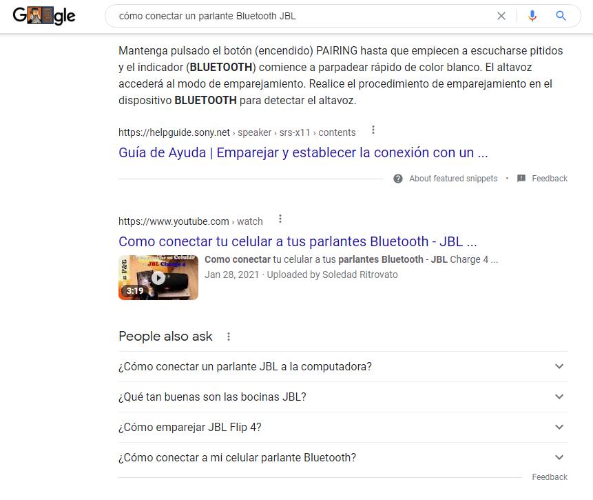 Imagen que muestra una búsqueda en Google con intención informativa