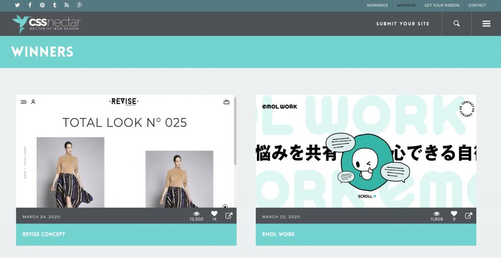 CSS Nectar, Galería de inspiración para el diseño de sitios web