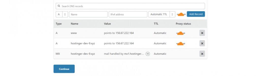 Registros DNS de Cloudflare