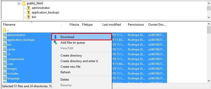 Descargar archivos de WordPress usando FileZilla