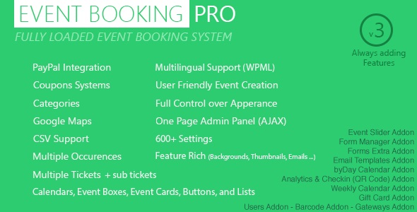 plugin pro de reserva de eventos