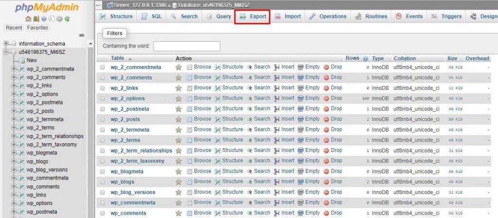 Exporta la base de datos usando la página phpMyAdmin