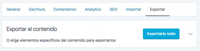 Exportar contenido de WordPress.com