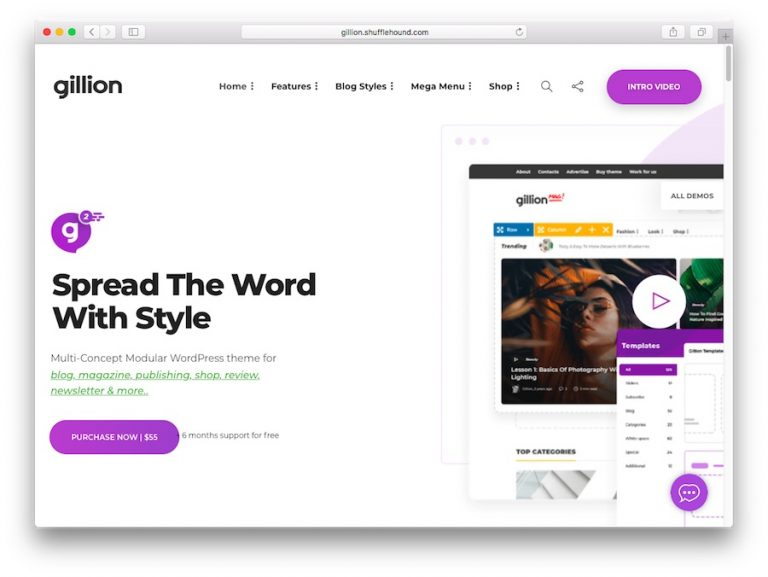 Demo del tema Gillion WordPress para blogs