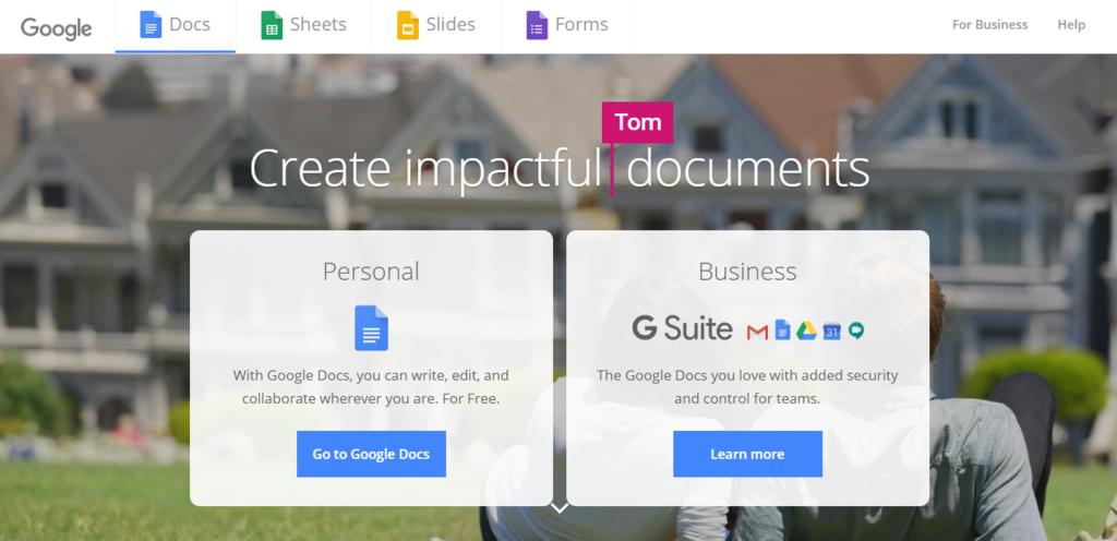 La página de inicio de Google Docs que incluye llamadas a la acción.