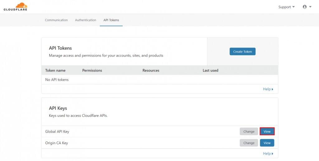 Obtener clave API de Cloudflare