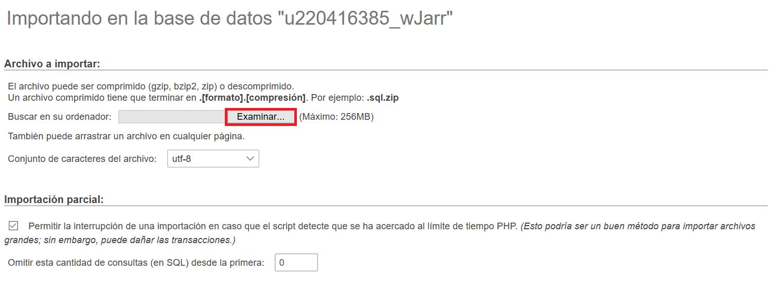 Importar la base de datos en phpMyAdmin