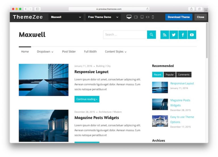 Demo del tema Maxwell WordPress para blogs