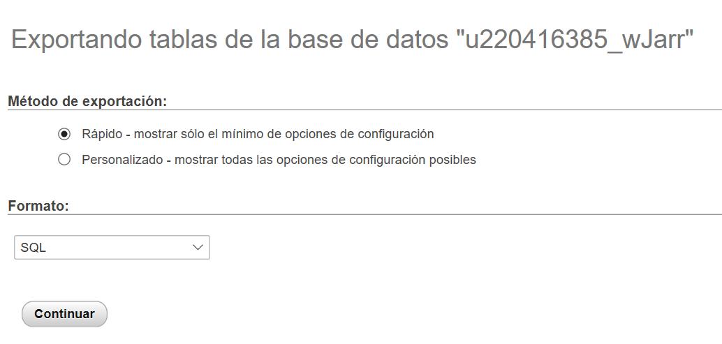 Exportando tablas de la base de datos en phpMyAdmin